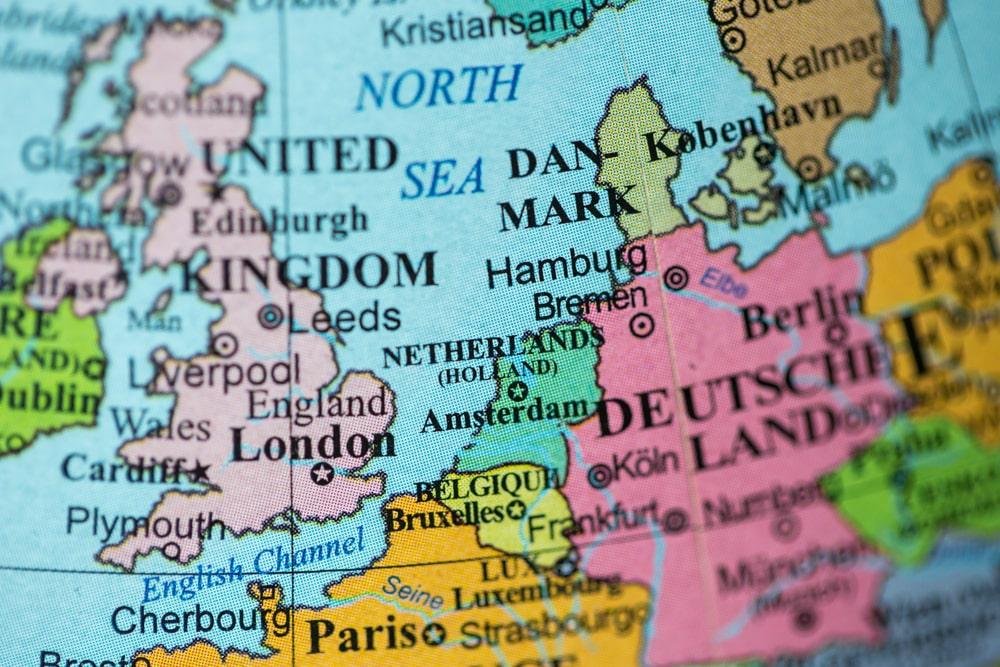 Globe map of UK and western Europe